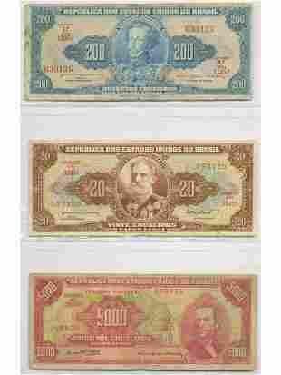 Six (6) Brazilian Bank Notes