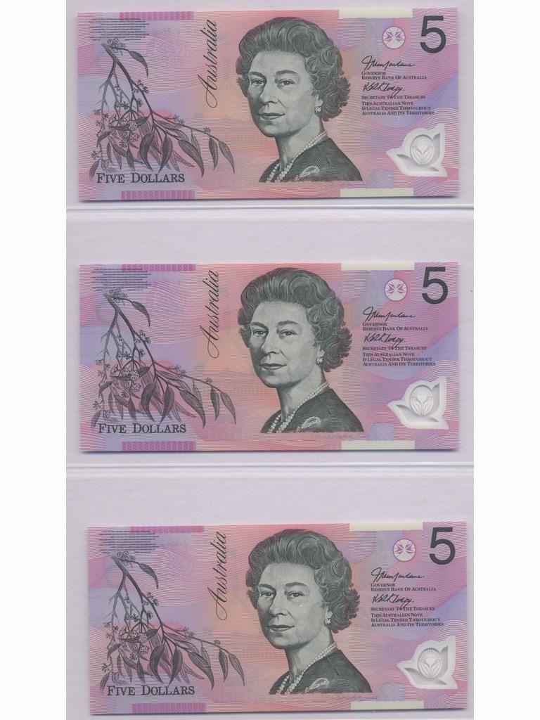 Three (3) Polymer Australian Five Dollar Bank Notes