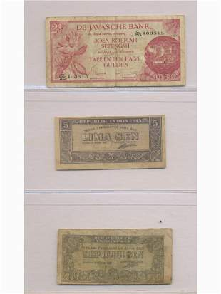 Three (3) Bank Notes - Dutch East Indies and Indonesia
