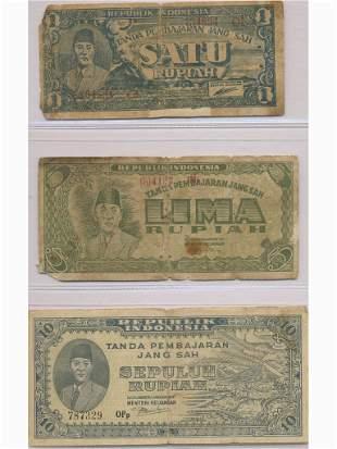 Three (3) Indonesian Bank Notes