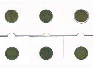 Six (6) North American Coins