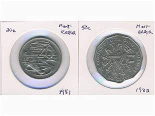 Two (2) Australian MINT ERROR Coins - 1981 and 1982