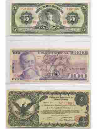 Three (3) Mexican Notes