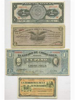 Four (4) Mexican Notes