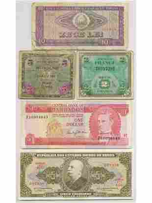 Five (5) World Notes including WW2 Occupation