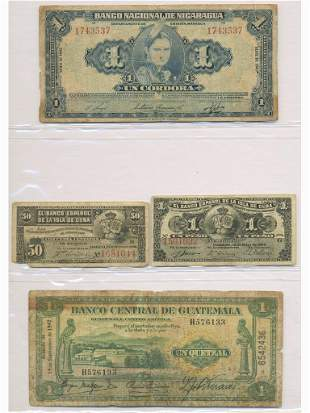 Four (4) Central American Bank Notes