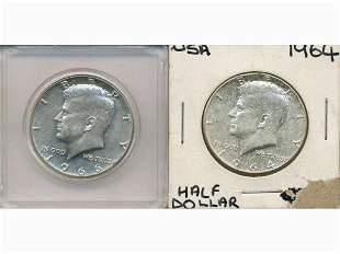 Two (2) High Silver Kennedy Half Dollars