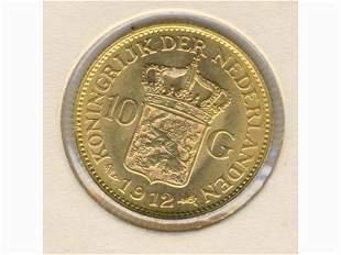 .900 Gold 1912 Netherlands Ten Gulden Coin