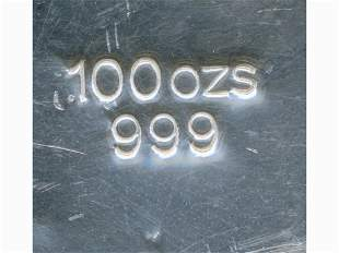 100-Troy-Ounce Pure Silver Bullion Block