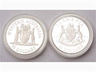 1990 and 1991 Australian Sterling Silver Proof Coins