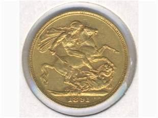 1891 Melbourne Mint 22K Gold Full Sovereign