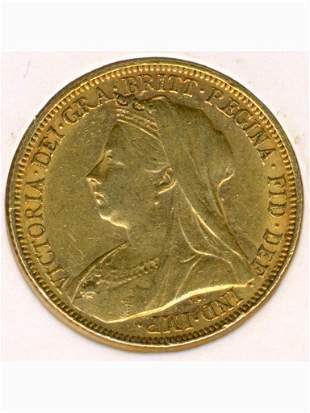 1901 Melbourne Mint 22K Gold Full Sovereign