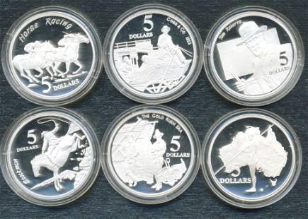 Six (6) Australian .925 Silver Collector Coins