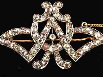 Antique Art Nouveau Diamonds & Rose Gold Brooch
