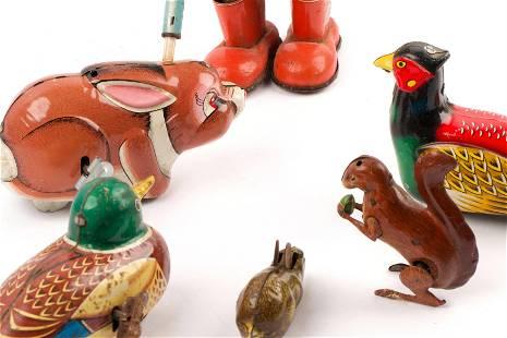 Vintage Tin Animal Figurines (6)