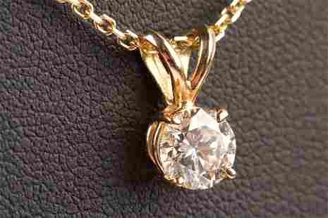 14K Yellow Gold Diamond Pendant & Chain