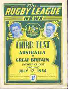 1954 Third Test Rugby Leaque Magazine