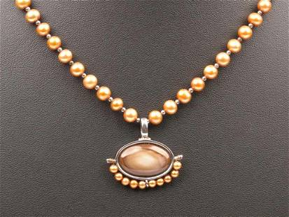 Coloured Pearls Necklace and Mother of Pearl Pendant