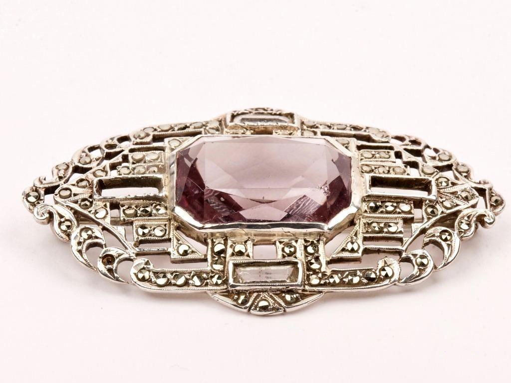 Art Deco Style Amethyst & Sterling Silver Brooch