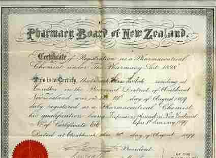 1899 Pharmary Board Certificate & Two Nautical Charts