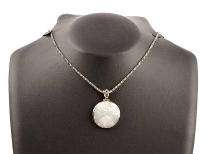 Sterling Silver Necklace with Mother of Pearl Pendant
