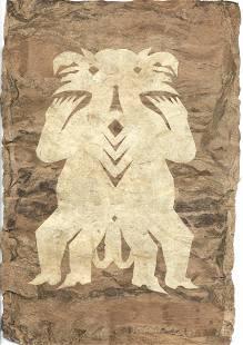 Pair of Native American Bark Paintings