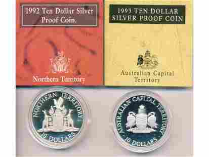 1992 and 1993 Australian Sterling Silver Proof Coins