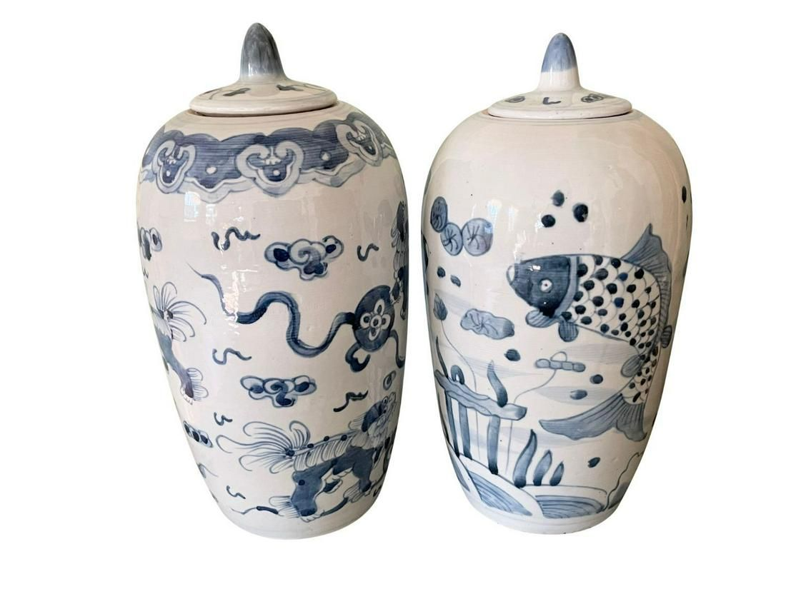 Blue and White Ming Ginger Pots, Pair