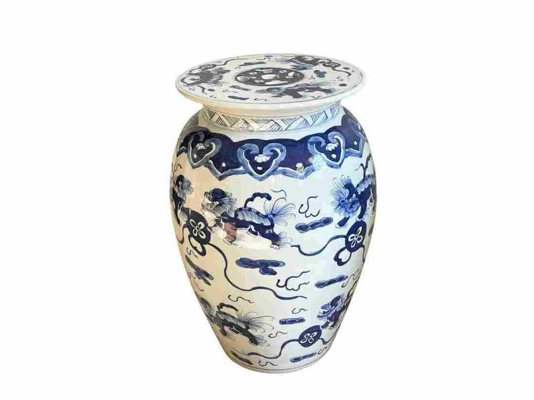 Blue and White Chinoiserie Garden Stool