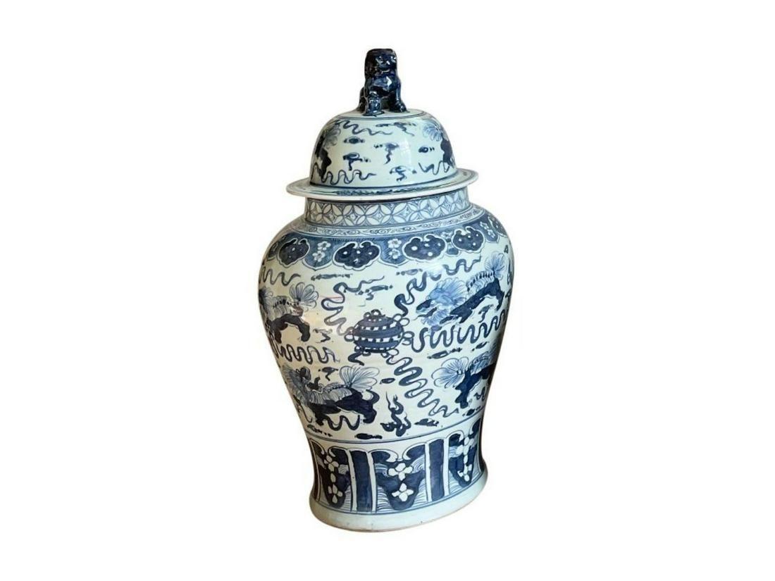 Blue and White Foo Dog Temple Jar
