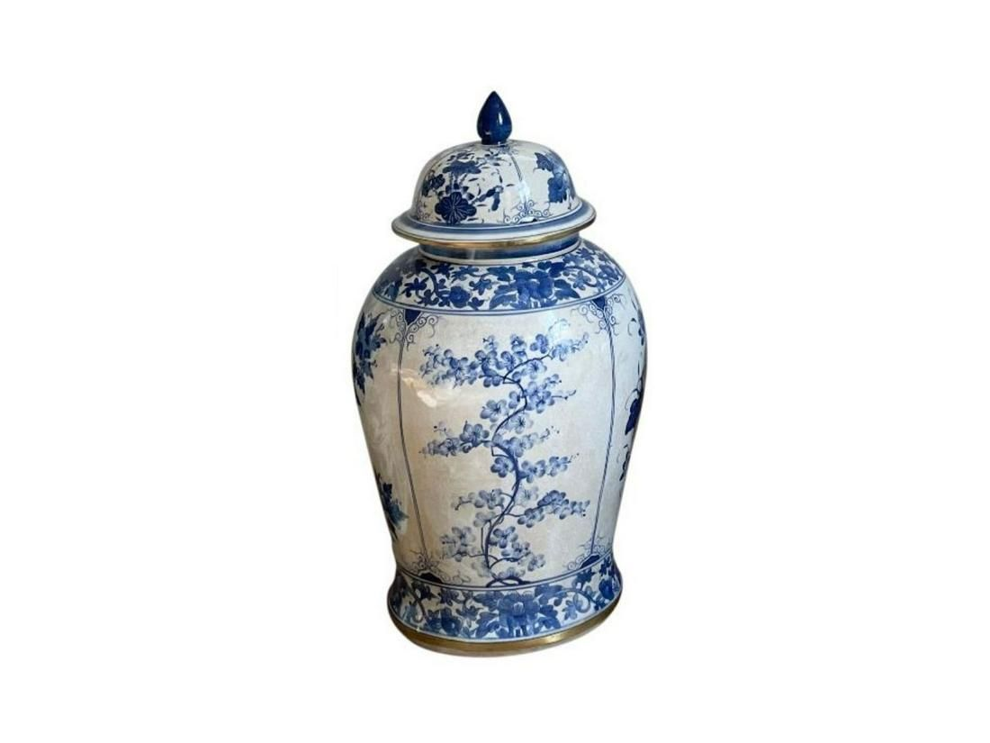 Blue and White Temple Jar with Brass Trim