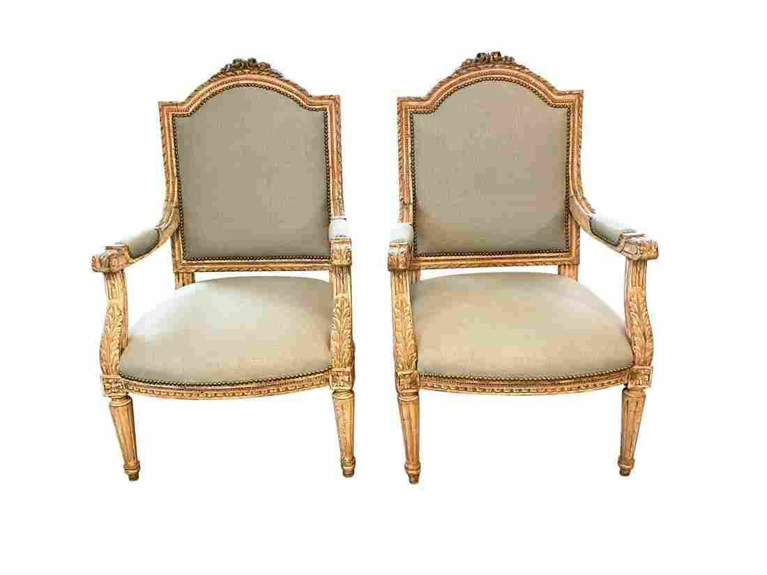 Louis XVI Style Armchairs in Light Blue Upholstery