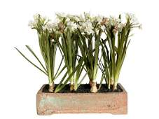 Faux Flowers in Brick Planter