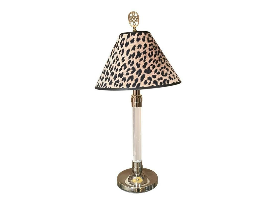 Chrome and Lucite Table Lamp with Leopard Shade