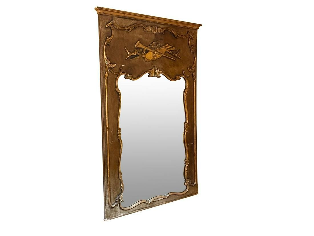 Painted and Parcel Gilt Trumeau Mirror