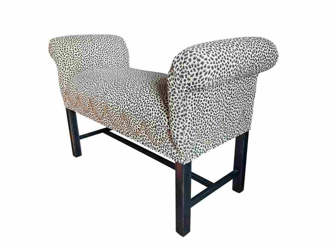 Ethan Allen Scroll Arm Bench in Leopard Print