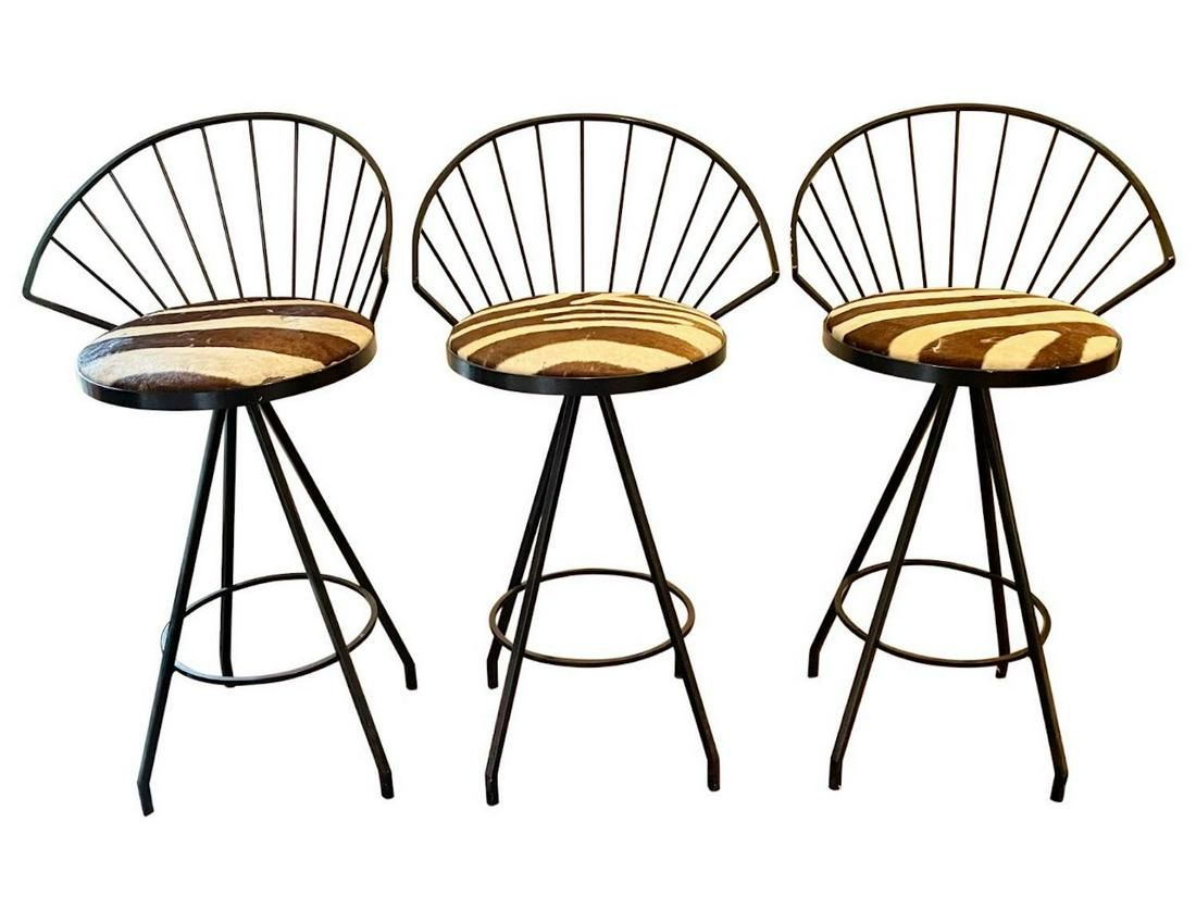 Zebra Stripe Bar Stools, Set of 3
