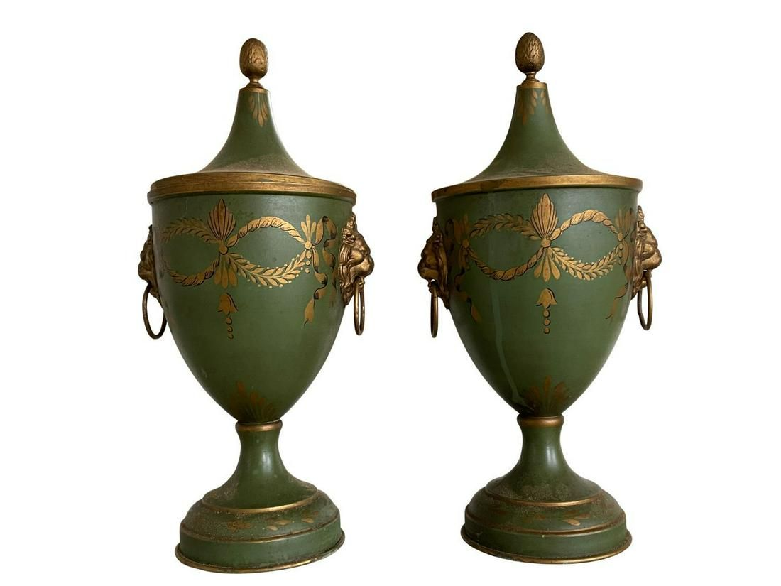 Green and Gold Toleware Urns, Made in France