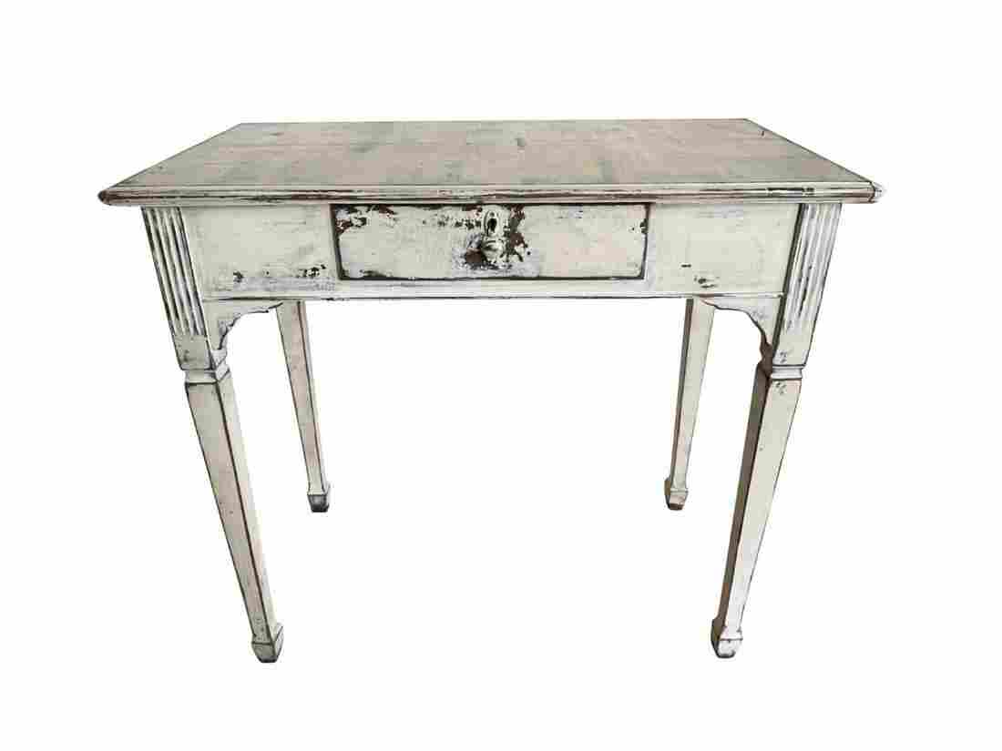 Painted Wood Desk with Drawer
