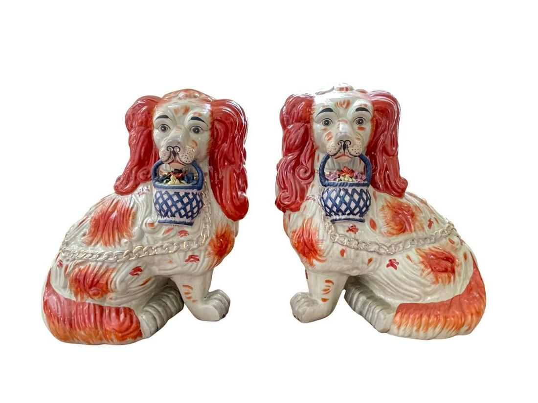 Porcelain Staffordshire Dogs with Flower Baskets