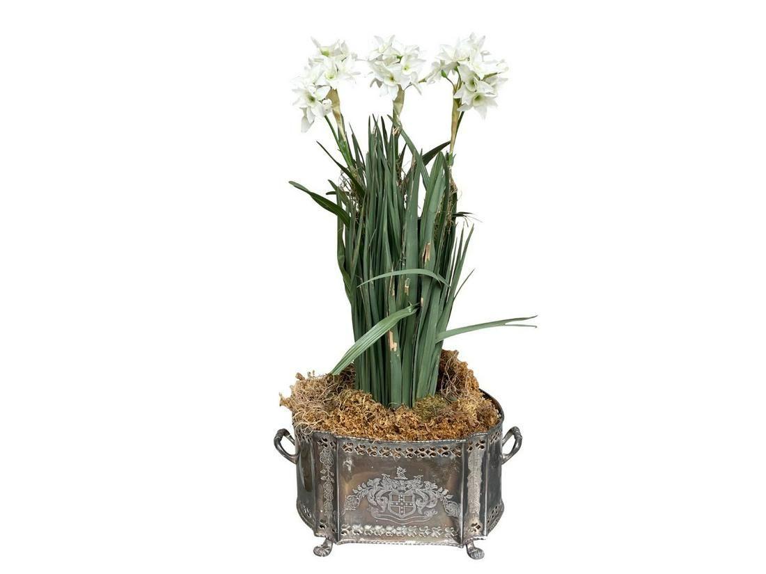 Faux Flowers in Metal Planter