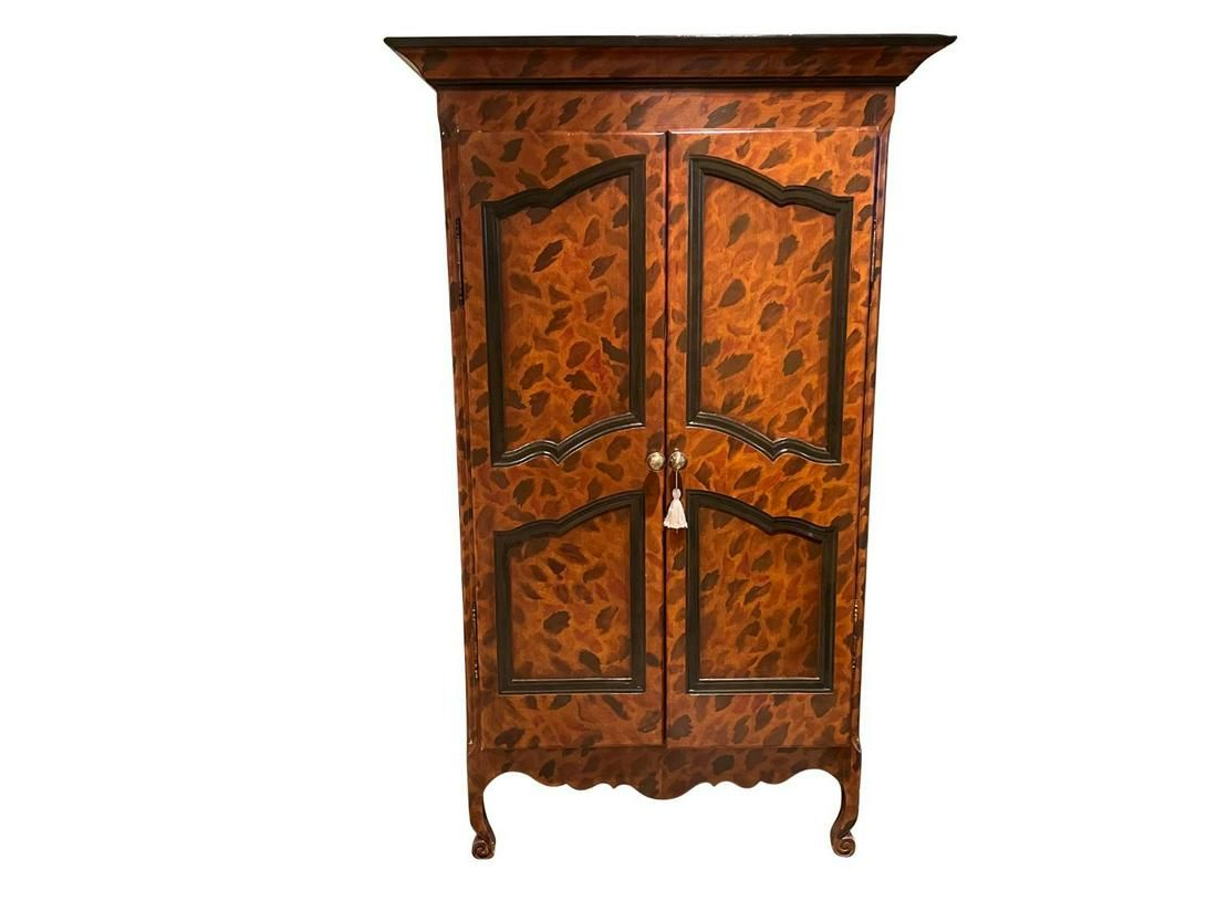 Painted Armoire with Monkeys on Door Interiors
