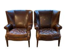 Restoration Hardware Drake Leather Wingback Chairs