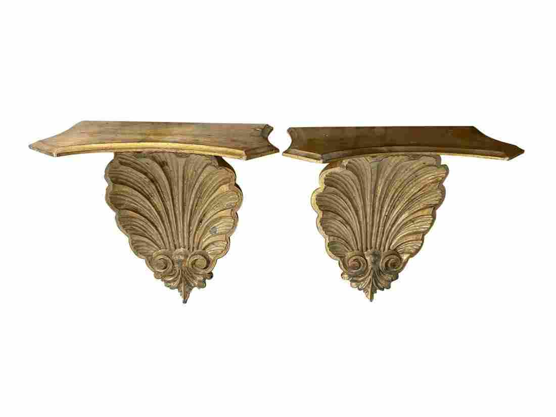 Florentine Giltwood Shell Brackets, Pair