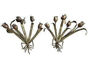 Gilded Tulip Wall Sconces