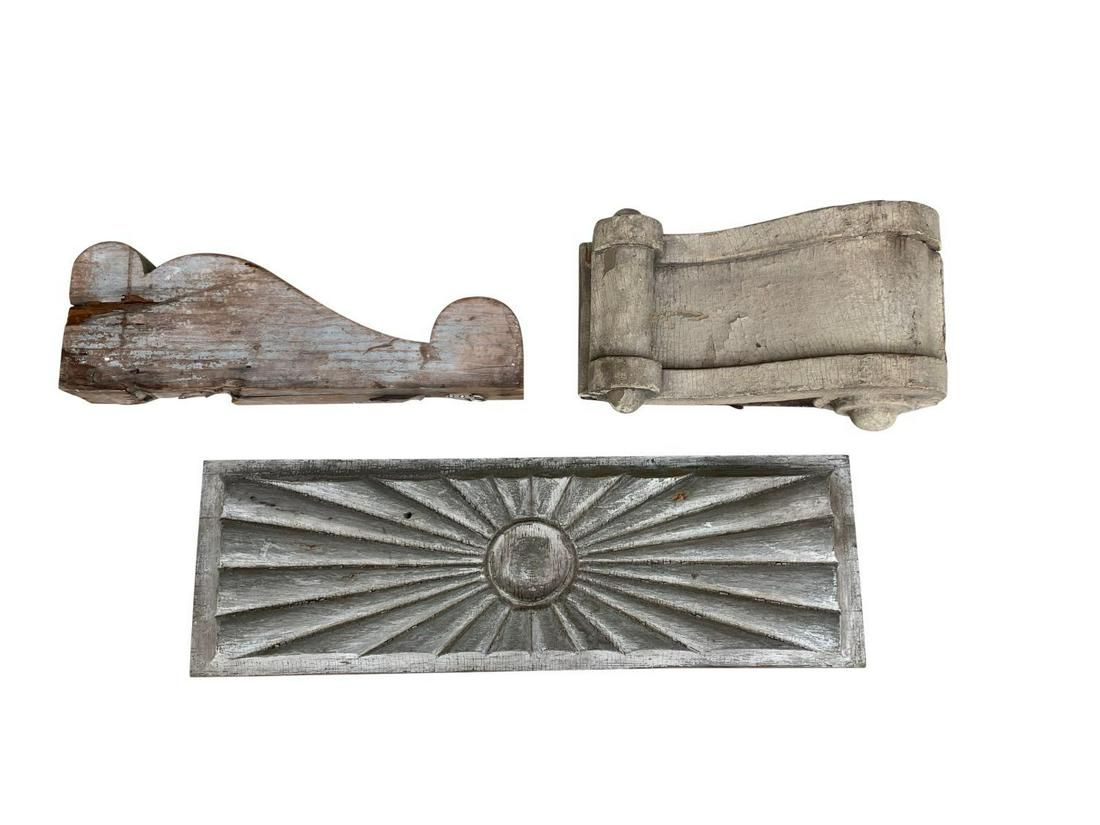 White Wash Architectural Fragments, Set of 3