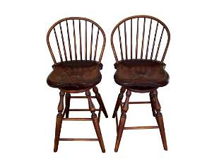 Windsor Back Swivel Bar Stools, Pair