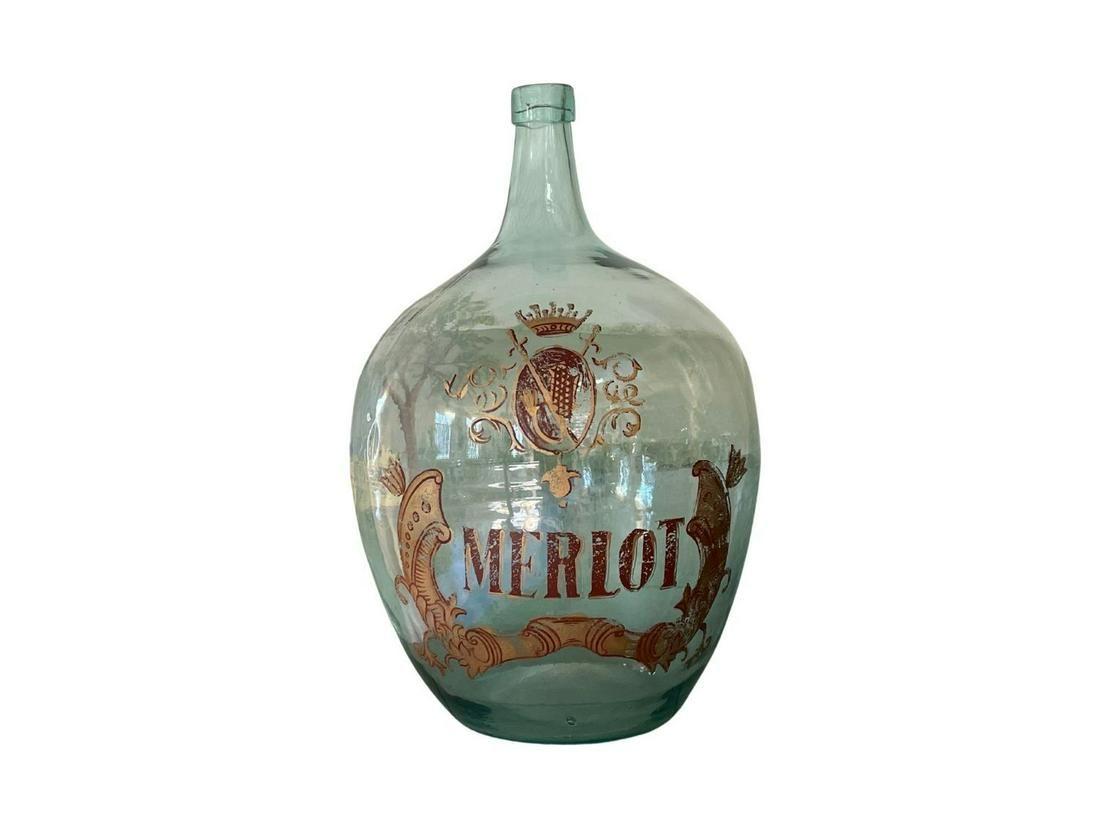 Hand-Blown Wine Bottle, Merlot