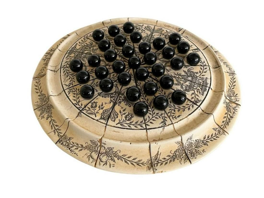 Vintage Peg Solitaire Scrimshaw Board with Marbles