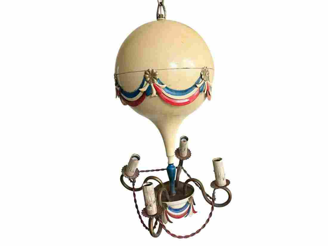 Mid-Century French Tole Hot Air Balloon Chandelier